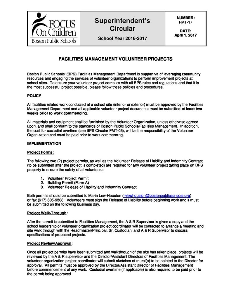 Superintendent Circular FMT-17 Facilities Management Volunteer