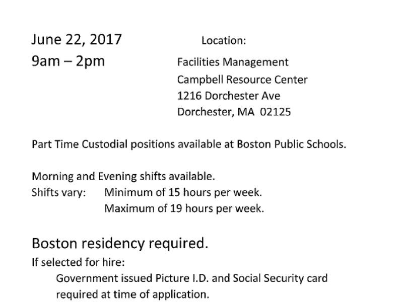 2017 BPS Custodial Job Fair