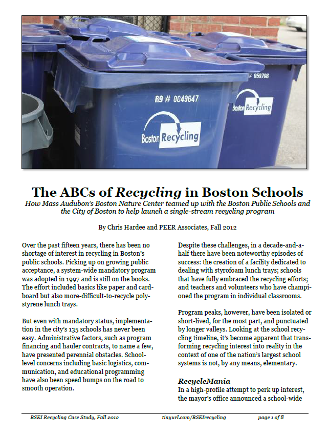 2012 Case Study: BPS Recycling History
