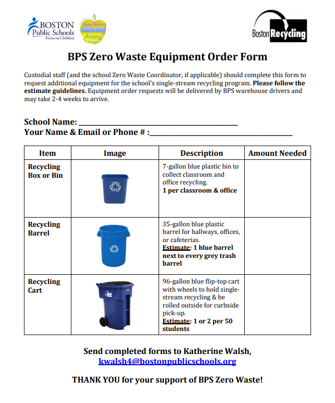 BPS Recycling Equipment Order Form