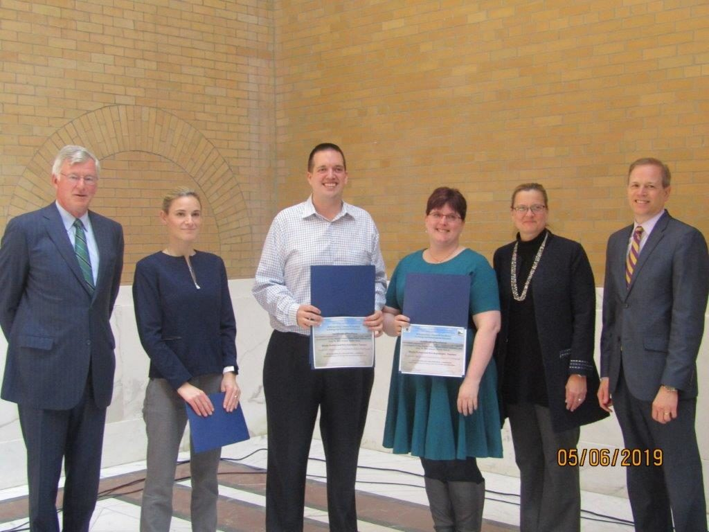BPS teachers Nicole Ruttan (Umana Academy K-8) and Kris Grymonpre (McCormack Middle School) were awarded the 2019 Massachusetts Secretary's Award for Excellence in Energy